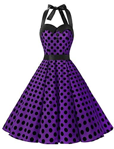 Dressystar Vintage Tupfen Retro Cocktail Abschlussball Kleider 50er 60er Rockabilly Neckholder Purpur Schwarz Dot (Kostüm Brautjungfer Schmuck)