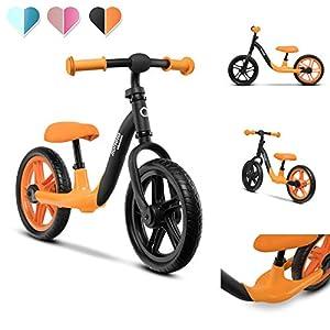 Lionelo Alex-Bicicleta Infantil (hasta 30 kg, sillín y Manillar Ajustables, Ruedas de Espuma EVA, Estructura Robusta, limitación de dirección EN 71, Color Naranja), (PO2019/168)