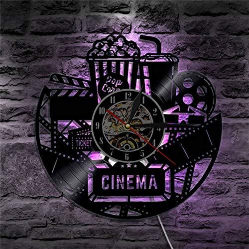 Reloj de Pared Cinema Vinyl Record Reloj de Pared Reloj de Diseño Moderno Película de Cine Reloj de Pared Reloj de Tiempo Coca-Cola de Palomitas de Maíz para Regalo de Amante de La Pelíc