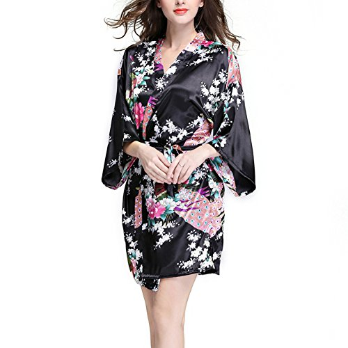 Price comparison product image Waymoda Women Luxury Silky Satin Evening Dressing Gown, Ladies Peacock and Blossoms Pattern Kimono Pajamas, 10+ Color, 4 Sizes Optional - Short style