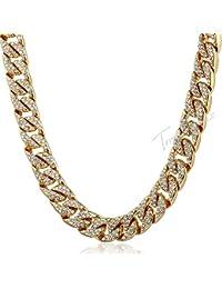 a71545ace068 KERVINFENDRIYUN YY4 Collar de Diamantes llenos de Hip-Hop Chapado en Oro  Collar de Cadena