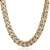 FELICIGG Collar de Diamantes llenos de Hip-Hop Chapado en Oro Collar de Cadena Cubana Joyas (Color : Gold, Size : 24inch)