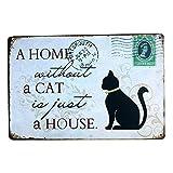 Doitsa Vintage Peinture en Métal Animal Chat Plaque Poster Letter Words Tin Sign Vieille Decor pour Home Pet Center