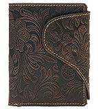Burkley Edle Leder Geldbörse für Damen Portemonnaie mit 14 Kartenfächer | große Verschlusslasche | Blumen Prägung