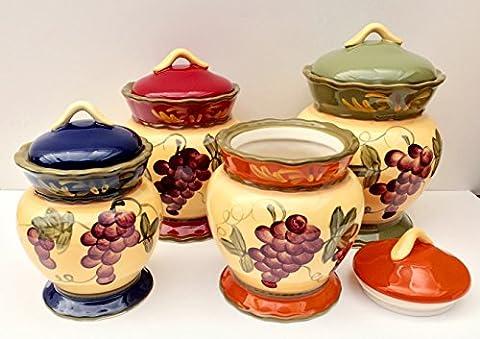 Toscane Jardin Collection raisins peinte à la main 4pièces Canister Set, 84001s par ACK