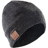 Bonnet Sharon Music Beanie avec casque micro | AirPods connexion Bluetooth en gris | Écoutez de la musique et téléphonez sans avoir froid | comp. avec iPhone 7, 7 Plus, 8, 8 Plus, Galaxy 6, 7 ,8
