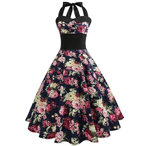 Damen Elegant Neckholder Rockabilly 50er Vintage Retro Kleid Petticoat Faltenrock Frauen Floral Gedruckt Ärmellos Abendkleid Cocktailkleid Partykleider (Sexy Blau, L) (Spitzen Stretch Kostüme)