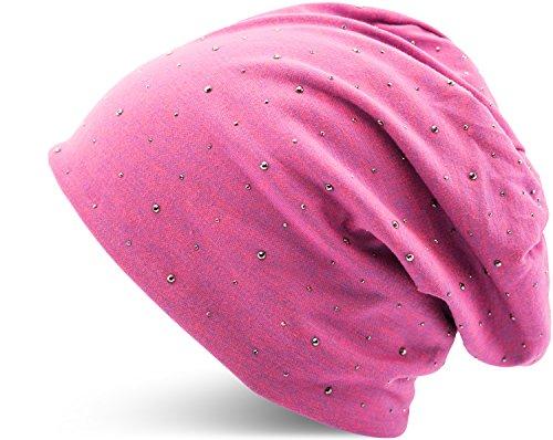 Jersey Baumwolle elastisches Long Slouch Beanie Unisex Herren Damen mit Strass Stern Steinen Mütze Heather in 35 verschiedenen Farben (7)...