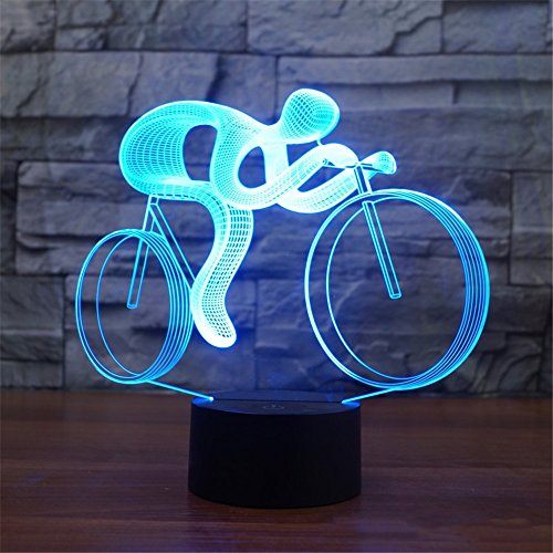 J.SUNUN 3D LED Nachtlampe 7 Farben Ändern Radfahrer 3D Illusion Lampe für Kinderzimmer Dekoration für Kinder Schlafen/Mutter Fütterung/Dekoration / Urlaub Geschenk -