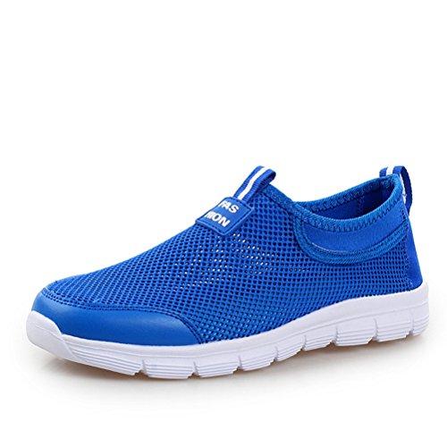 Frühling Sommer Unisex Erwachsene Atmungsaktive Mesh Gitter Oberflach Slip On Flache Einfache Sneakers Blau