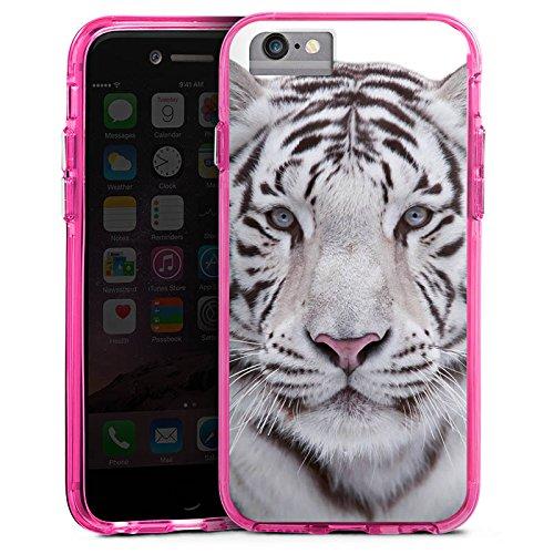 Apple iPhone X Bumper Hülle Bumper Case Glitzer Hülle Schneetiger White Tiger Bumper Case transparent pink