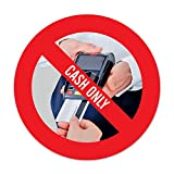 CASH ONLY -No card payment accepted | 5x Aufkleber, rund d:9,5cm | witterungsbeständig & langlebig