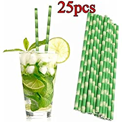 25 pcs pailles en papier en bambou Eco Friendly boissons, Cocktail Paille fête, 19,7 x 0,6 cm