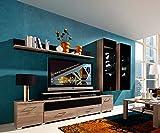 Wohnwand in Silbereiche-NB mit Abs. in Schwarzglas mit Wandboard, TV-Element u. 2 Hängevitrinen, Gesamtmaße: B/H/T ca. 293/199/50 cm