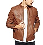 #6: Krystle Men's Slim Fit Zipper Design Leather Jacket