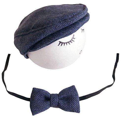 Baby Hut krawatte Set Junge Mädchen Mütze Neugeborene Baskenmütze Fotoshooting Kostüm Babyfotografie Accessories Props (Navy blau)