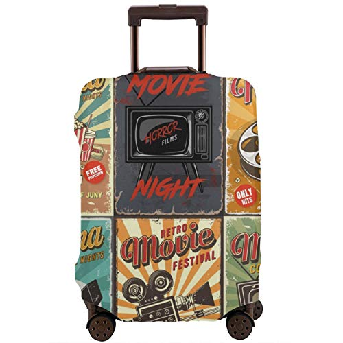 Travel Suitcase Protector,Cinema Set of Posters Vector Vintage Illustration,Suitcase Cover Washable Luggage Cover M Red Digital Cinema Camera