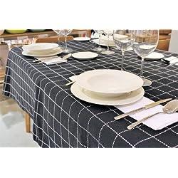 COTTON ART - Mantel Rectangular 150 X 200 Color Negro. ALGODÓN 100%. SIN SERVILLETAS.