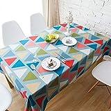 CHRISTMAD Tischdeckel Baumwollhanf Tischdecken Verdickung Tischdecke Verschleißfeste Tischschutz Tischwäsche Heimgebrauch Staubschutz Farbiges Dreieck Geschenk Jahres,180 * 140cm