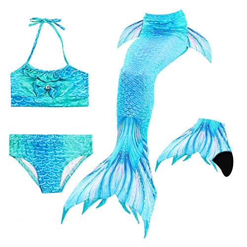 Le SSara Seemädchen Cosplay Bademode Mermaid Shell Badeanzug mit FIN Swimmable Mermaid Schwanz (140, DH06-Black)