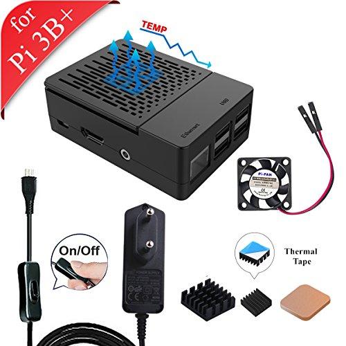 GeeekPi Raspberry Pi 3 B + Case with Cooling Fan, 5V 2 5A EU Power Supply,  and heatsinks for Raspberry Pi 3/2 Model B (Does Not Include Raspberry Pi
