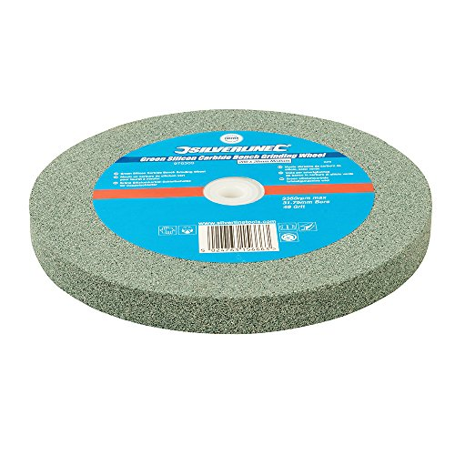 Silverline 976303 Grüne Siliziumkarbid-Schleifscheibe für Doppelschleifer 200 x 20 mm, mittel