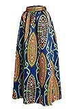 SheShy Femme imprimé africain floral décontracté une ligne jupe maxi Multisize (L, Navy Bleu)