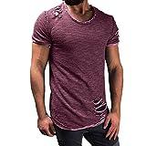 VEMOW Sommer Männer Mode Lässig Im Freien Datum Loch Runde Kragen Tees Hemd Kurzarm T-Shirt Bluse Pullover Pulli(Lila, EU-58/CN-4XL)