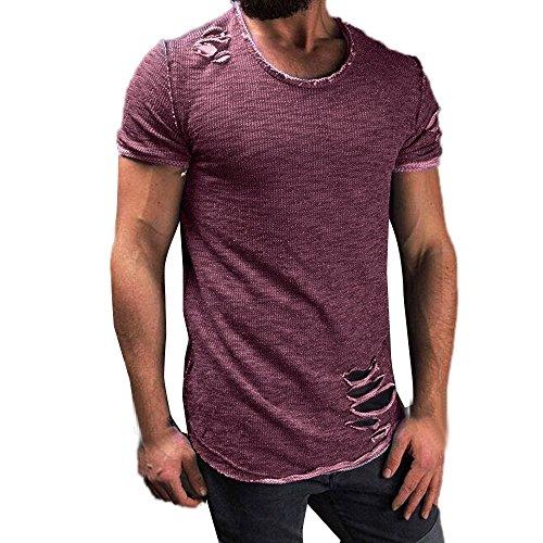 VEMOW Vatertag Geschenk Sommer Männer Mode Lässig Im Freien Datum Loch Runde Kragen Tees Hemd Kurzarm T-Shirt Bluse Pullover Pulli(Lila, EU-46/CN-S)