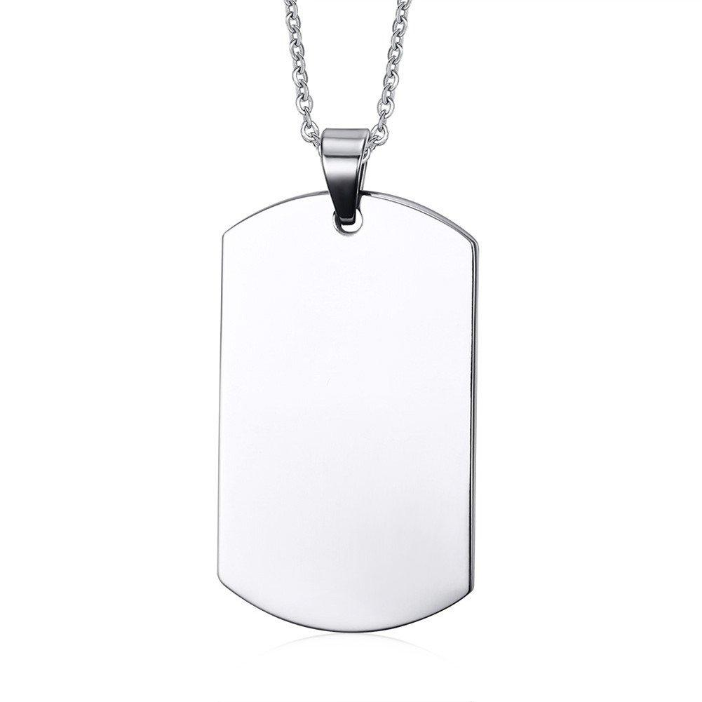 Vnox Nombre de Acero Grabado Personalizado en Blanco Etiqueta de Perro Colgante,Collar de Plata Personalizada,Cadena Libre