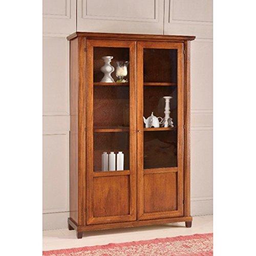 Estense-Vitrine Bücherregal aus Holz Farbe Walnuss dunkel-L 120P 40H189-477F - Dunkle Walnuss Bücherregal