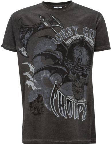 T-Shirt West Coast Choppers Battle Oil Dye Anthracite (S , Grigio)