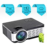 "Egate i9 Real HD Android 720p (1080p Support) , 2400 L (225 ANSI ) with 150 "" Large Display LED Projector 