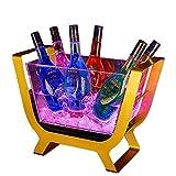 DLINMEI Raffreddatore per Vino Grande capacità, Secchiello per Ghiaccio a LED, con Cambio di Colori, cremagliera per Vino in Acciaio Inox Acrilico Trasparente Creativo, Barca per Champagne per Feste,