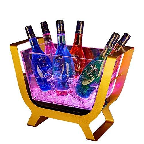 DLINMEI Große Kapazität Weinkühler, LED Eiskübel, mit Farbwechsel, kreative transparentem Acryl Edelstahl Weinregal, Champagner-Boot für Party, Haus, Bar (Wasser-krug-spender Mini)