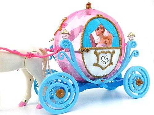 ✨ Brigamo 601841 – Elektrische Märchen Prinzessin Kutsche in Kürbisform mit Sound, Beleuchtung und Elektrischem Pferd ✨ - 2