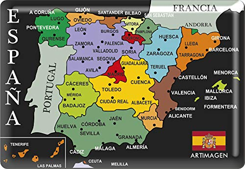 Art picture Magnet Map Cities Spain Black 80x55 mm. Resin