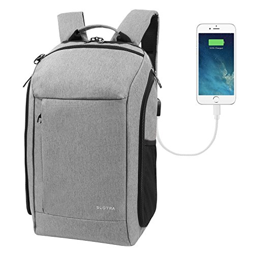SLOTRA Zaino con USB Impermeabile Resistente da Fotocamera PC Laptop Backpack per Portatile 15,6 Zaini da Viaggio trekking 30L Grande Comodo (Grigio)