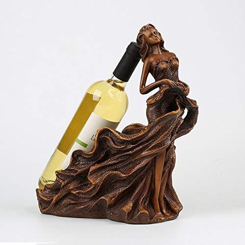 Botelleros Vino Sostenedor De Botellas, Resina De Grano De Madera Arte Escultura...