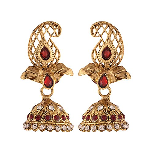 Ganapathy Gems Traditional Maroon Chanbali Jhumki Earrings for Women & Girls(10912_GPJ)