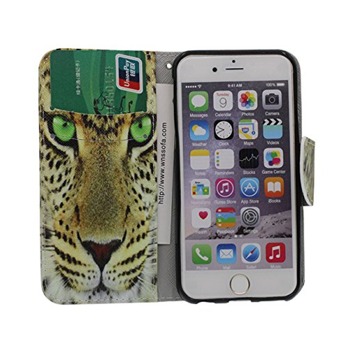 Schutzhülle Apple iPhone 6S Plus Hülle, PU Leder Geldbörse Brieftasche Case Unterstützen Feature Wildes Tier Muster Serie Verschiedene Farbe Schutzhülle für iPhone 6 Plus / 6S Plus 5.5 inch - Tiger a5