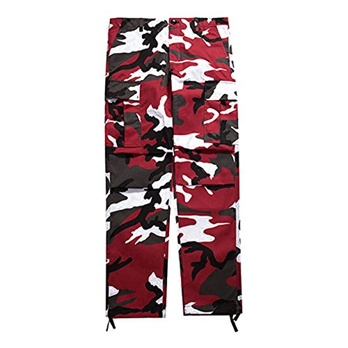 Juleya Cargo Pants Männer Frauen Camouflage Hosen Lose Hip Hop Jogginghose Rot & Schwarz - Cargo-hosen Frauen Camo