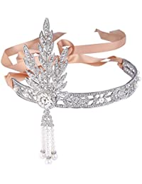Ever Faith - Cristal La Gran Gatsby Inspirado Perla Simulado Cabeza Banda Plata-Tono Color Marfil N06211-1