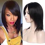 Perruque brésilienne pour femme - Cheveux courts humains vierges - Noir naturel 1B