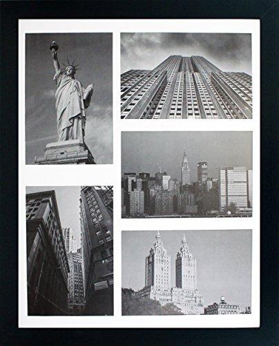 11x 14Bilderrahmen Collage-Matte zeigt Fünf 10,2x 15,2cm Fotos-Schwarz Galerie breit Formen-inkl. befestigt Aufhängen Hardware und Desktop Staffelei-4x 6Bilder angezeigt oder 11x 14 (Frame Multi-pic)