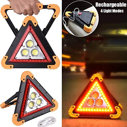 Orel_carparts 30W Dreieck Wasserdichte USB wiederaufladbare tragbare LED COB Arbeitslicht Outdoor-Notleuchte Scheinwerfer Auto Fahrzeugwartung Ausfall Warnleuchten Camping Lampe Griff Taschenlampe -
