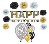 Feste Feiern Geburtstagsdeko Zum 80 Geburtstag I 16 Teile All in One Set Pompon Girlande Luftballon Gold Schwarz Silber Party Happy Birthday