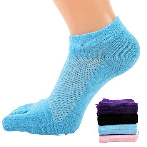 Preisvergleich Produktbild 4 Paar Frauen Mesh Lauf- oder Sportsocken,  5-Zehen-Socken