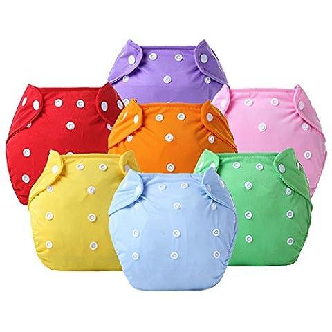 Ledyoung Enfants Formation Pantalon pour Mignon pour bébé Lavable en machine Tissu Diaper Couche pour fille et Garçon, Taille Réglable, Lot de 7