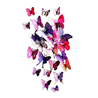 Aehrebrn Butterfly Wall Sticker,3d Butterfly Wall Stickers Decals Butterfly Magnets,Durable Plastic Butterfly Decorations,wall Decor (Butterflypurple)